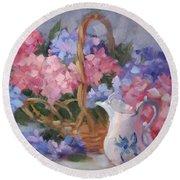 Pink And Blue Hydrangeas Round Beach Towel