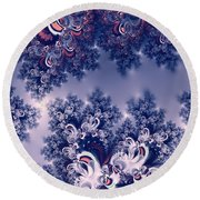 Pink And Blue Morning Frost Fractal Round Beach Towel