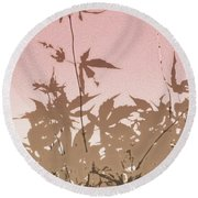 Pink And Brown Haiku Round Beach Towel