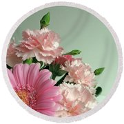 Pink And Green Floral Round Beach Towel