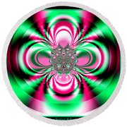 Pink And Green Rotating Flower Fractal 74  Round Beach Towel
