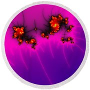 Pink And Purple Digital Fractal Artwork Round Beach Towel