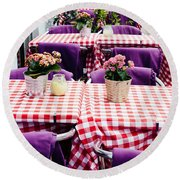 Pink And Purple Dining Round Beach Towel