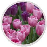 Pink And Purple Dutch Tulips Round Beach Towel