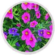 Pink And Purple Petunias Round Beach Towel