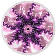 Pink And Purple Soft And Creamy Fractal Art Round Beach Towel