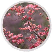 Pink And Purple Spring Trees Round Beach Towel by Carol Groenen