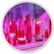 Pink And Red Bottles Round Beach Towel