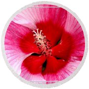 Pink And Red Hibiscus Flower Round Beach Towel