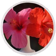 Pink And Red Hibiscus Round Beach Towel