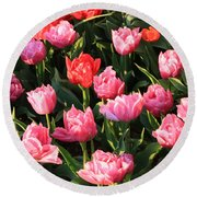 Pink And Red Ruffly Tulips Square Round Beach Towel