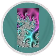 Pink And Teal Round Beach Towel