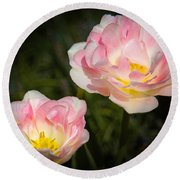 Pink And White Flowers Round Beach Towel