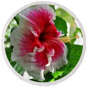 Pink And White Hibiscus Round Beach Towel