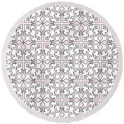 Pink And White Interlude Round Beach Towel