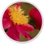 Pink And Yellow Au Deux Round Beach Towel