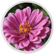 Pink And Yellow Flower Round Beach Towel