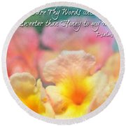 Pink And Yellow Lantana With Verse Round Beach Towel by Debbie Portwood