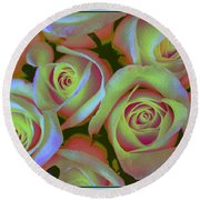 Pink And Yellow Roses Pop Art Round Beach Towel