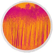 Pink Aspen Trees Round Beach Towel