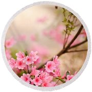 Pink Azalea Bush Round Beach Towel