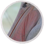 Pink Backed Pelican Round Beach Towel