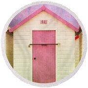 Pink Beach Hut Round Beach Towel