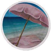 Pink Beach Umbrella Round Beach Towel