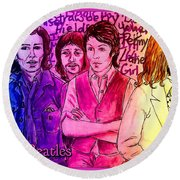 Pink Beatles From Rainbow Series Round Beach Towel