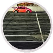 Pink Beetle Round Beach Towel