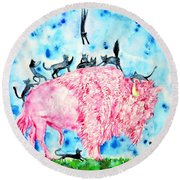 Pink Bison And Black Cats Round Beach Towel