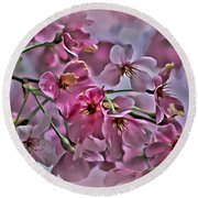 Pink Blossoms - Paint Round Beach Towel