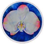 Pink Blush Orchid Round Beach Towel
