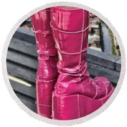 Pink Boots Round Beach Towel by Jasna Buncic