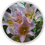 Pink Bridal Bouquet Round Beach Towel