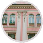 Pink Building Round Beach Towel