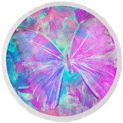 Pink Butterfly By Jan Marvin Round Beach Towel