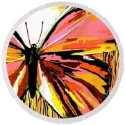 Pink Butterfly Round Beach Towel