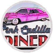 Pink Cadillac Diner Round Beach Towel