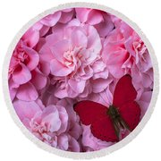 Pink Camilla's And Red Butterfly Round Beach Towel