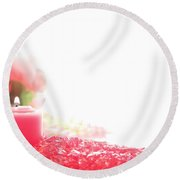 Pink Candle On Crystal  Round Beach Towel