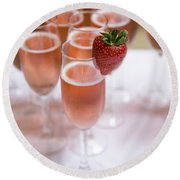 Pink Champagne And Strawberry Round Beach Towel