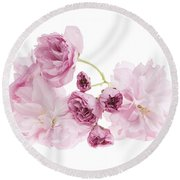 Pink Cherry Blossoms Round Beach Towel