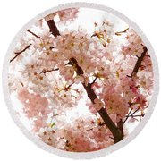 Pink Cherry Blossoms - Impressions Of Spring Round Beach Towel