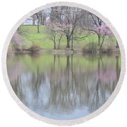 Pink Cherry Reflections Round Beach Towel