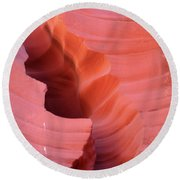 Pink Cleft II - Antelope Canyon Round Beach Towel