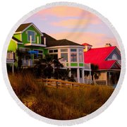 Pink Clouds At Isle Of Palms Round Beach Towel