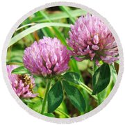Pink Clover Wildflower - Trifolium Pratense Round Beach Towel