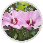 Pink Couple Round Beach Towel