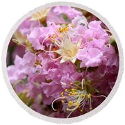 Pink Crepe Myrtle Closeup Round Beach Towel by Carol Groenen